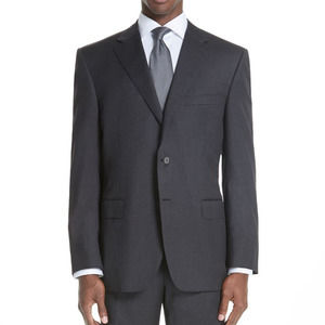 Canali Classic Fit Wool Gray Suit Jacket 46